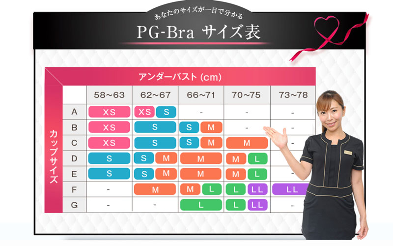 PG-Braナイトブラサイズ表